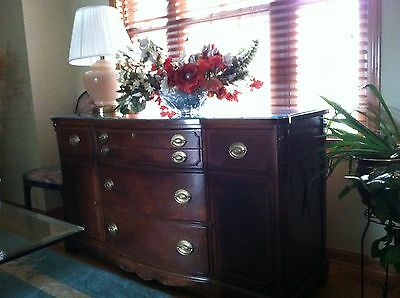 Elegant Mahogany Buffet Sideboard with glass top