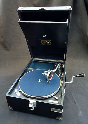 ORIGINAL 1920s HMV 101 PORTABLE GRAMOPHONE PLAYER IN BLUE, RESTORED AND SERVICED