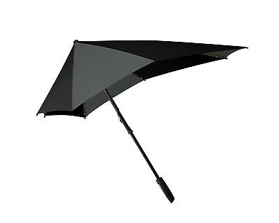"Senz Aerodynamic Walking Windproof ""Smart"" Stick Umbrella in Black Fusion"