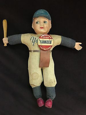 1920's NY YANKEES AMERICAN LEAGUE CHAMPIONS JAPAN CELLULOID DOLL STRAW FILLED