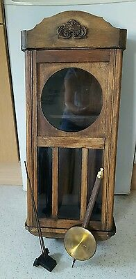 Victorian wooden wall clock case with pendulum and chime