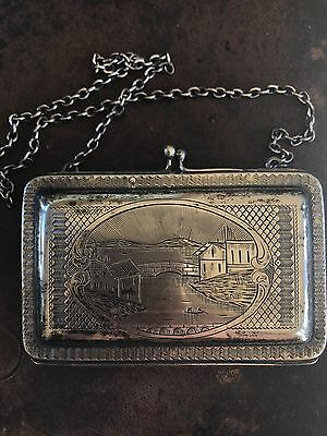 antique unger sterling silver 925 Rare dance purse with water scene engraving