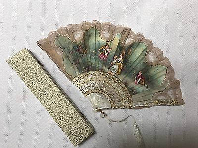 Vintage Hand held Painted & Lace Fan Victorian With Hinged Box