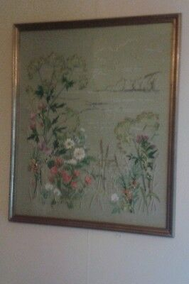 LARGE SIZE Silk embroidery picture antique embroided flowers