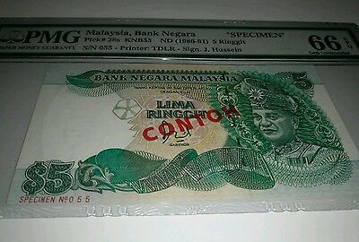 Malaysia 5 Ringgit (1986) SPECIMEN CONTOH Note #055 Graded PMG66 P.28a 28as Rare