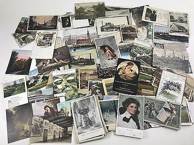 Vtg Lot of 200+ Antique German Postcards Colored B&W 1909-1939 Germany w/ Stamps