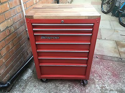 snap on tool box - wooden top - 7 drawer