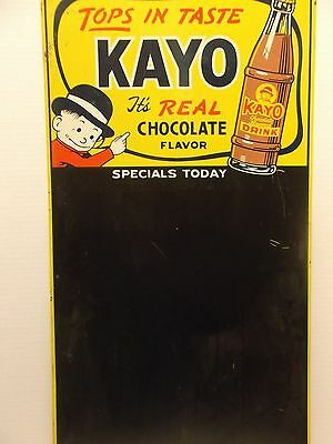 "Original Vintage ""kayo Chocolate Drink"" Advertising Tin Litho Blackboard Sign"