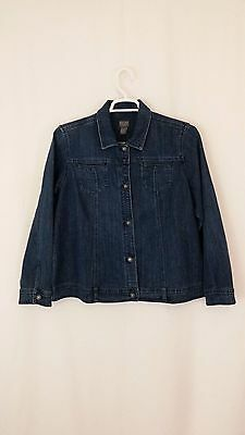 New Chico's Additions, Women's Denim Button Down Jacket. Long Sleeve Size 3,