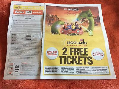 2 x Legoland tickets sun offer - All 10 vouchers and Booking Form included