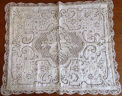 Antique Pillow Case Linen Cover Figural Adam and Eve Garden Needle lace Cutwork