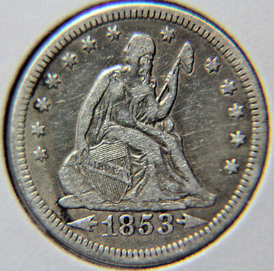 1853 25C Arrows and Rays Liberty Seated Quarter - Lot # QLS 153