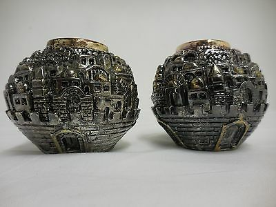 Pair Of Israel Jewish Judaica, 925 Sterling Silver Rotem Candle holders