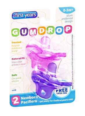 THE FIRST YEARS - Newborn Gumdrop Silicone Pacifier Assorted Colors - 2 Pack