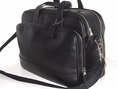 Coach Hamilton 24 Hour Black Smooth Leather Computer Briefcase Bag F72224 $595