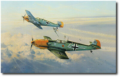 Eagle Attack by Robert Taylor - Signed by 4 Luftwaffe Generals - Aviation Art