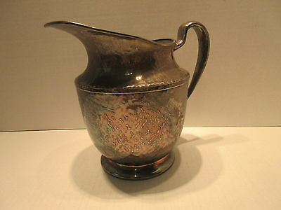 Vintage Derby S.P. Co. W.M Mounts Hand Beaten Silver Plate Water Pitcher