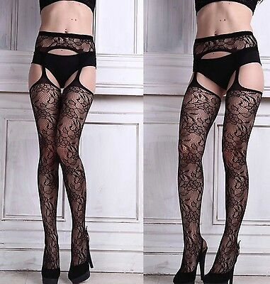 Ladies Patterned Pantyhose Suspender Tights Open Crutchless Erotic Underwear