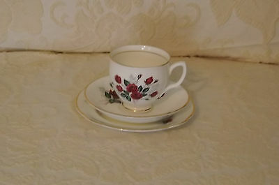 Vintage Duchess Bone China Red Roses Trio Cup Saucer Plate Made in England