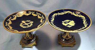 French Gilt Bronze Cobalt Blue Porcelain Pair of Painted Compotes late 19th cntr
