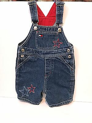 Toddler Tommy Hilfiger 12-18 M Overalls with Red and Blue Stars 100% Cotton