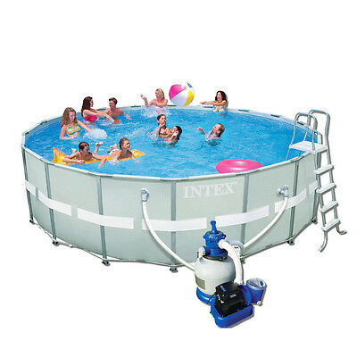 """Intex Ultra Metal Frame Round Metal Pool 18ft x 52"""" With Sand Filter - 28332"""