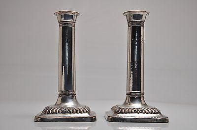 """GOOD PAIR OF VINTAGE SILVER PLATED CORINTHIAN COLUMN CANDLESTICKS 6 1/2""""inches"""