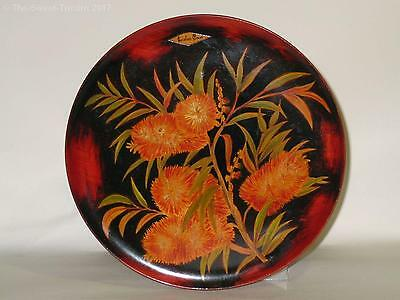 Pokerwork Plate with Callistemon Flowers. VGC.