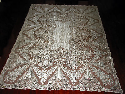"""Vintage Quaker Lace Tablecloth 90"""" by 67"""" Victorian style Tea Party,Wedding"""