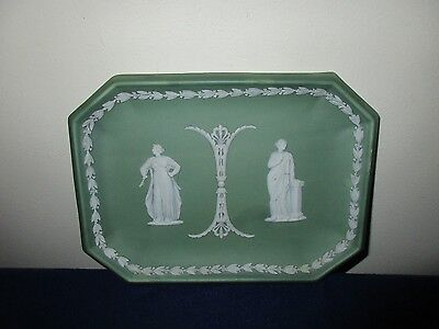 Antique 19th C Wedgwood Pottery Porcelain Green Jasperware Platter Dish Tray
