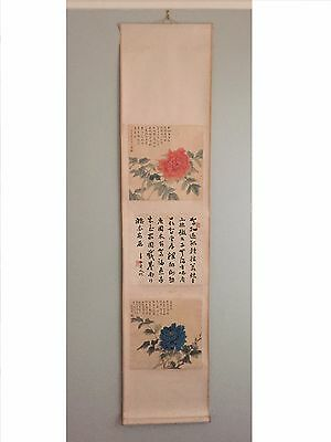 Antique Chinese Watercolor Painting Scroll Peonies and Calligraphy 蕭退庵、王道