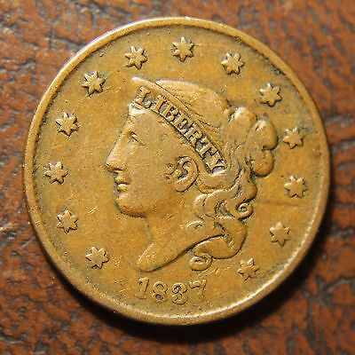 1837 Coronet Head Large Cent, N-5, Plain Cords, Small Letters