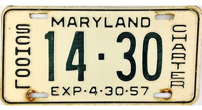 1956-1957 Maryland SCHOOL CHARTER License Plate #14-30