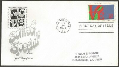 Us Fdc 1973 Love 8C Stamp For Someone Special Artmaster First Day Of Issue Cover