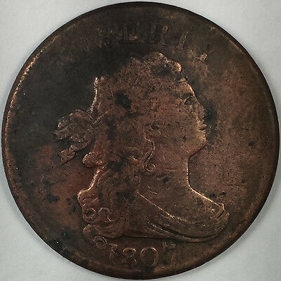 1807 Draped Bust Half Cent - Nice Rare Us Copper Coin