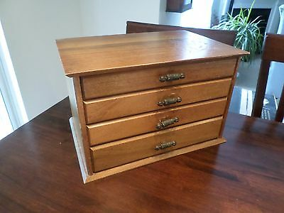 Antique Flatware 4 Drawer Chest Vintage Jewelry Box