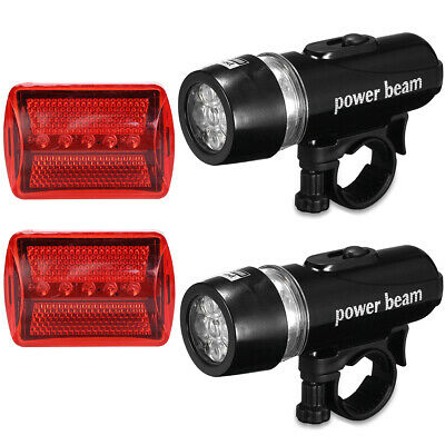 2x Bike 5 LED Bicycle Front Head Light Flashlight + Rear Safety Waterproof Lamp