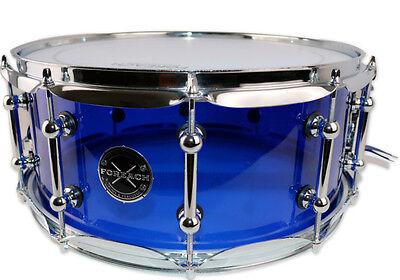 Blue Acrylic Acoustic Snare Drum 14x6