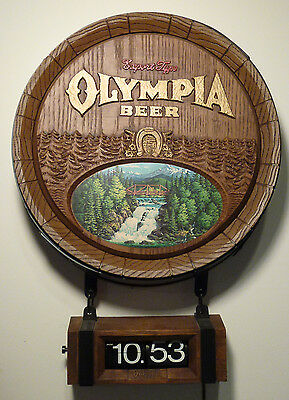 Vintage Olympia Beer Bar Sign Barrel w/ Waterfall & Flippy Clock Early 1980's