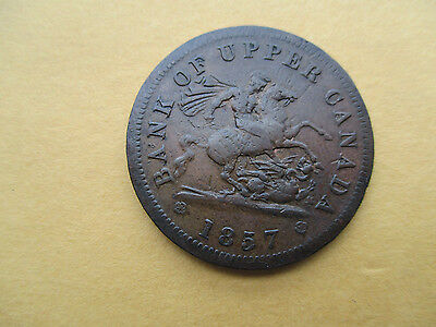1857 Bank Of Upper Canada One Penny Bank Token   Breton 719 PC 5 D