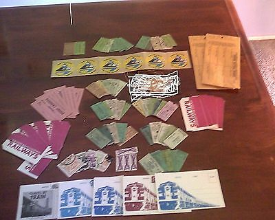 railway tickets, vintage, 80+ individual items