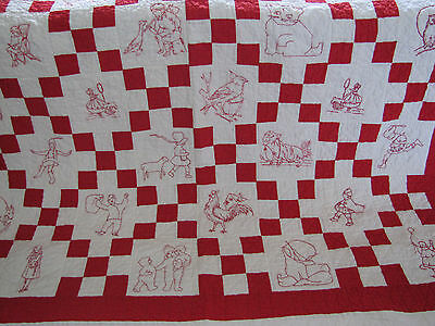 Red & White Irish Chain Red Work Quilt approx.1930's 40 Characters Stunning