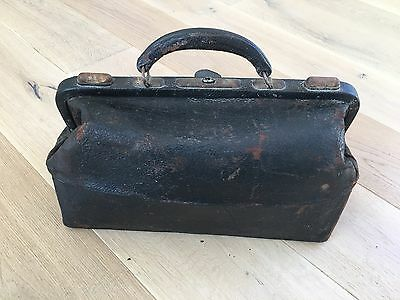 Awesome Antique Leather Brass Doctors Medical Bag Physician MD Brass