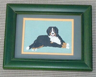 Bernese Mountain Dog Portrait, Hand Embroidered
