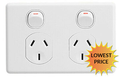 Clipsal C2025   Double power point GPO 10Amp 250v White (Classic Series) C2025WE