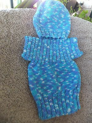 Baby Boy Hand Made Jumper and Beanie.Size 0-3mths