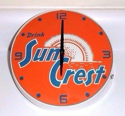 "RARE ORIGINAL 1960's SUN CREST ORANGE SODA POP ADVERTISING CLOCK !!! ""  NICE  """