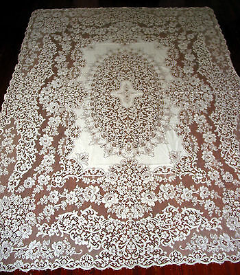 "Vintage Quaker Lace Tablecloth 96"" by 70"" Victorian style,Roses, #5320, Ecru"