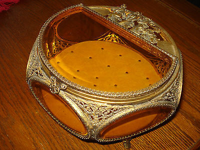 Vintage Ormolu Filigree Beveled Amber Glass Vitrine Jewelry Casket Trinket Box