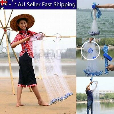 Hand Throw Fishing Net Spin Bait Casting Sinker Small Mesh Equipment Diameter 3M
